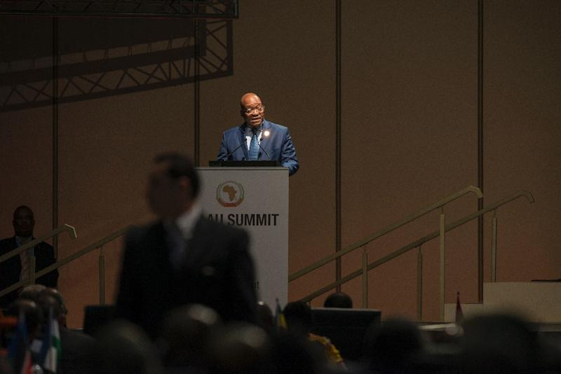 South African president Jacob Zuma addresses the audience at the opening session at the 25th African Union Summit in Sandton, in Johannesburg on June 14, 2015 (AFP Photo/Mujahid Safodien)