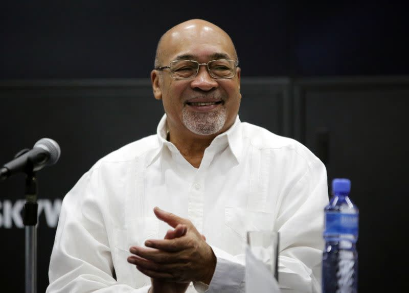 Suriname's President Desi Bouterse reacts during a news conference while announcing that Apache Corporation and Total made a major oil discovery offshore Suriname with the closely watched Maka-Central 1 well, in Paramaribo