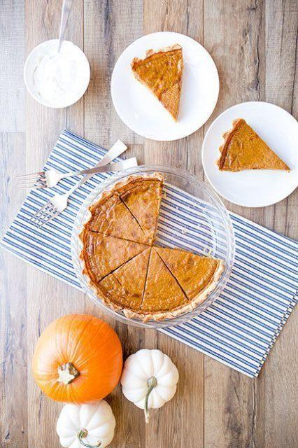 "<p>A slice is only 175 calories!</p><p>Get the recipe from <a href=""http://www.skinnymom.com/skinny-pumpkin-pie/"" rel=""nofollow noopener"" target=""_blank"" data-ylk=""slk:Skinny Mom"" class=""link rapid-noclick-resp"">Skinny Mom</a>.</p>"