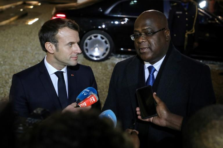 President Emmanuel Macron, left, told DRC counterpart Felix Tshisekedi that France would extend military support to fight armed groups (AFP Photo/ludovic MARIN)