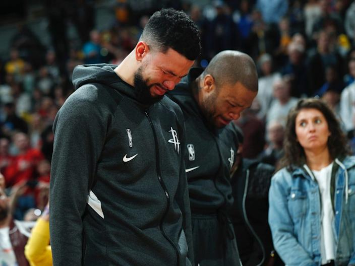 Rockets players were emotional during warm-ups on the day of Bryant's death.