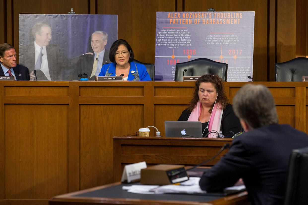 Sen. Hirono questions Supreme Court nominee Brett Kavanaugh during the second day of his Supreme Court confirmation hearing in September 2018. (Photo: Zach Gibson/Getty Images)