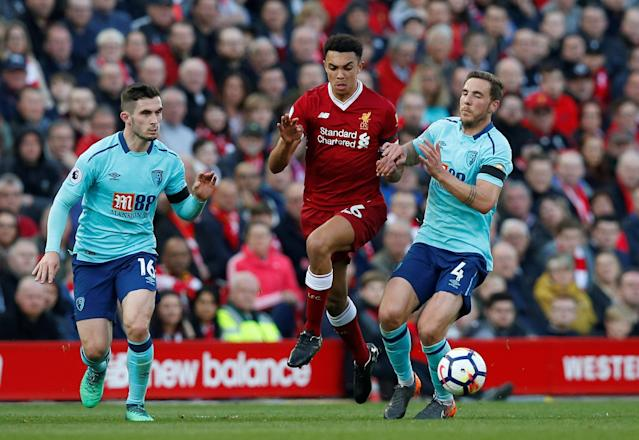 Trent Alexander-Arnold set up Mohamed Salah's 40th goal of the season as Liverpool beat Bournemouth.