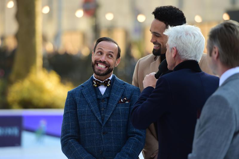 Jason Gardiner (left) is interviewed by Phillip Schofield during the press launch for the upcoming series of Dancing On Ice at the Natural History Museum Ice Rink in London. (Photo by David Mirzoeff/PA Images via Getty Images)
