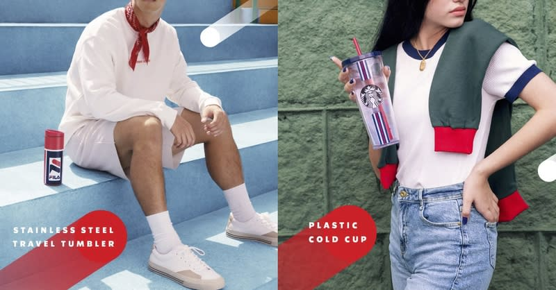 A collage of images for Starbucks x FILA drinkware