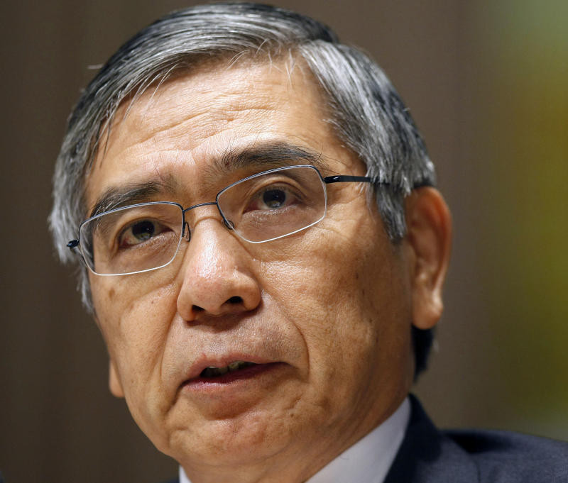 FILE - In this May 2, 2012 file photo, Asian Development Bank President Haruhiko Kuroda addresses the media at the start of the four-day 45th Annual Meeting of the ADB Board of Governors in Manila, Philippines.  Japan's currency weakened and shares climbed as local media reported that Prime Minister Shinzo Abe plans to nominate Kuroda to head the central bank. Abe was expected to announce the plan later Monday, Feb. 25, 2013.  (AP Photo/Bullit Marquez, File)