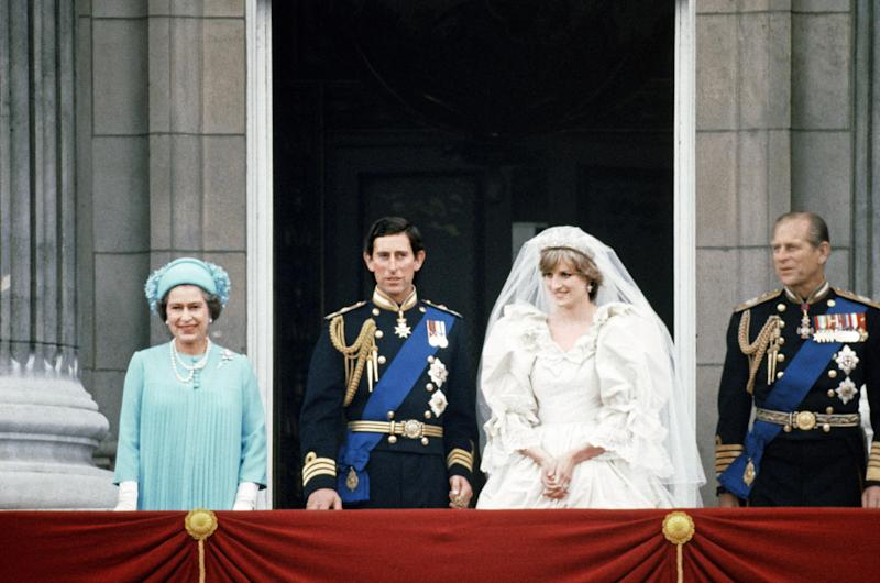Prince Charles and Lady Diana Spencer with Queen Elizabeth II and Prince Philip on the balcony at Buckingham Palace after their marriage ceremony at St Paul's Cathedral, 1981. Photo by MSI/Mirrorpix/Getty Images.