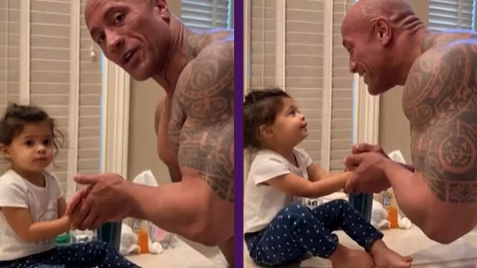 "Dwayne Johnson lava las manos de su hija al son de la canción ""You´re Welcome"", de la película Moana (Vaiana). (Imagen: Instagram @therock)"