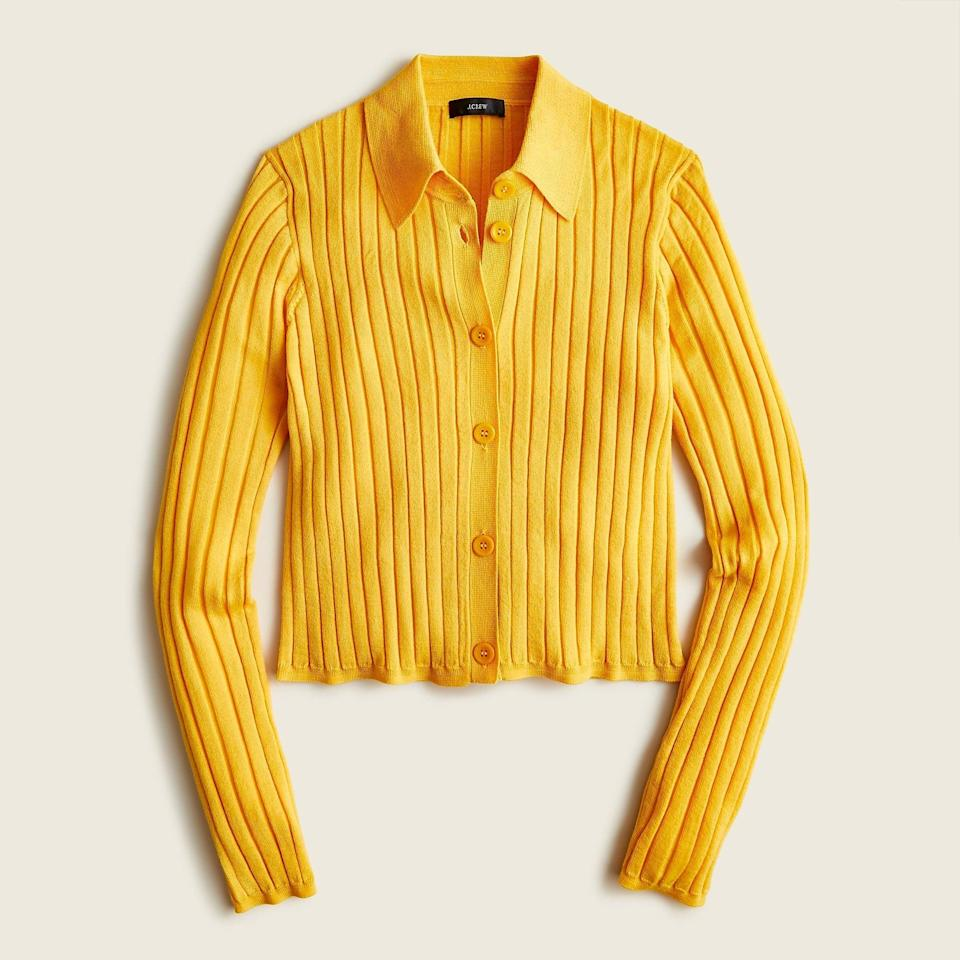 """<br><br><strong>J. Crew</strong> Collared button-up merino wool sweater, $, available at <a href=""""https://go.skimresources.com/?id=30283X879131&url=https%3A%2F%2Fwww.jcrew.com%2Fp%2Fwomens%2Fcategories%2Fclothing%2Fsweaters%2Fpullovers%2Fcollared-button-up-merino-wool-sweater%2FBA396%3Fdisplay%3Dall%26fit%3DClassic%26color_name%3Dfaded-saffron%26colorProductCode%3DBA396"""" rel=""""nofollow noopener"""" target=""""_blank"""" data-ylk=""""slk:J. Crew"""" class=""""link rapid-noclick-resp"""">J. Crew</a>"""