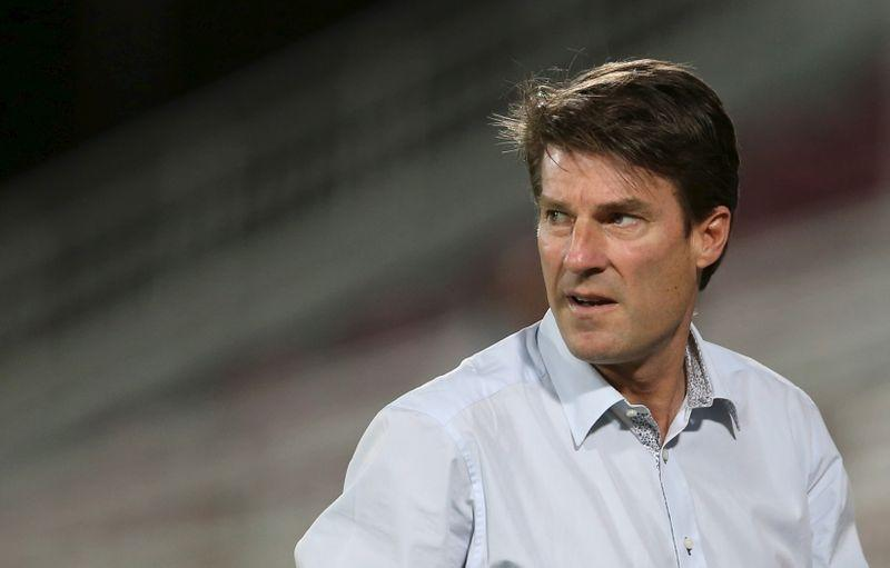FILE PHOTO: Laudrup, head coach of Qatar's Lekhwiya, reacts during their AFC Champions League soccer match against Iran's Persepolis at Abdullah bin Khalifa Stadium in Doha