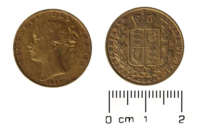 The oldest coin in the haul, a gold sovereign from the reign of Queen Victoria, was minted in 1847 - Credit: PA