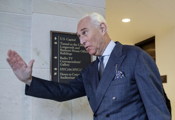 Longtime Trump associate Roger Stone arrives to testify in the House Intelligence Committee'™s investigation into Russian meddling in the 2016 election, Sept. 26, 2017. (Photo: J. Scott Applewhite/AP)