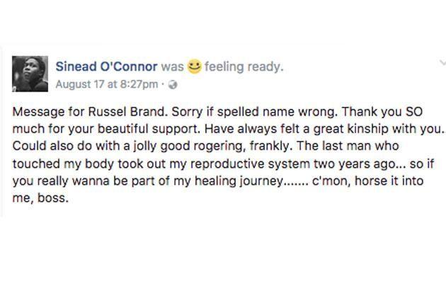 The message Sinead posted to Facebook. Source: Facebook