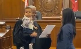 Justice Served: Internet hails judge who held baby as mom took oath to become lawyer