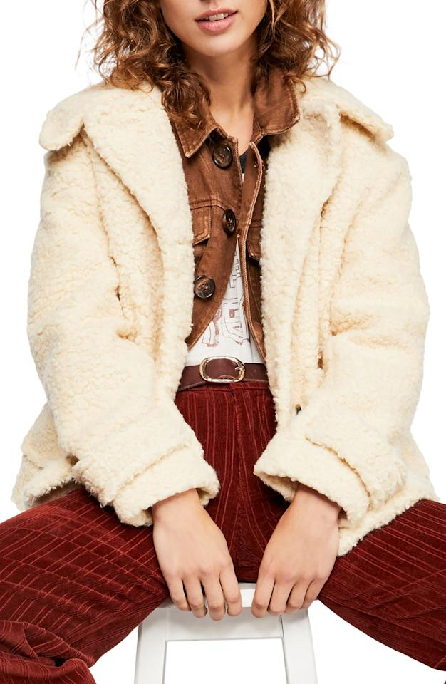 "$98.9, Nordstrom. <a href=""https://shop.nordstrom.com/s/free-people-so-soft-teddy-coat/5050971?origin=category-personalizedsort&breadcrumb=Home%2FAnniversary%20Sale%2FWomen%2FClothing%2FCoats%20%26%20Jackets&color=ivory"">Get it now!</a>"