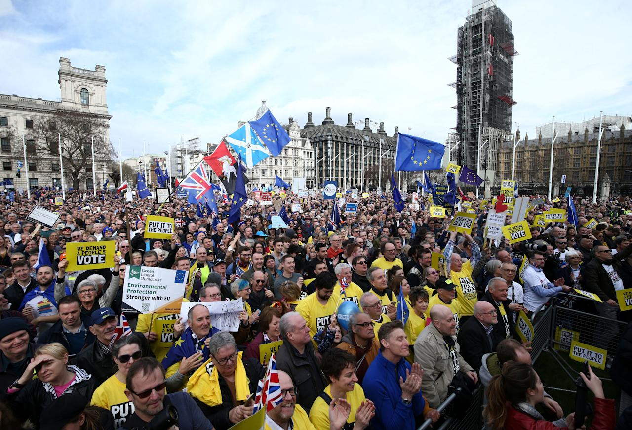 <p>Hundreds of thousands of people descended on central London to join a march on Parliament and demand a final say for the public over Brexit [Picture: PA] </p>