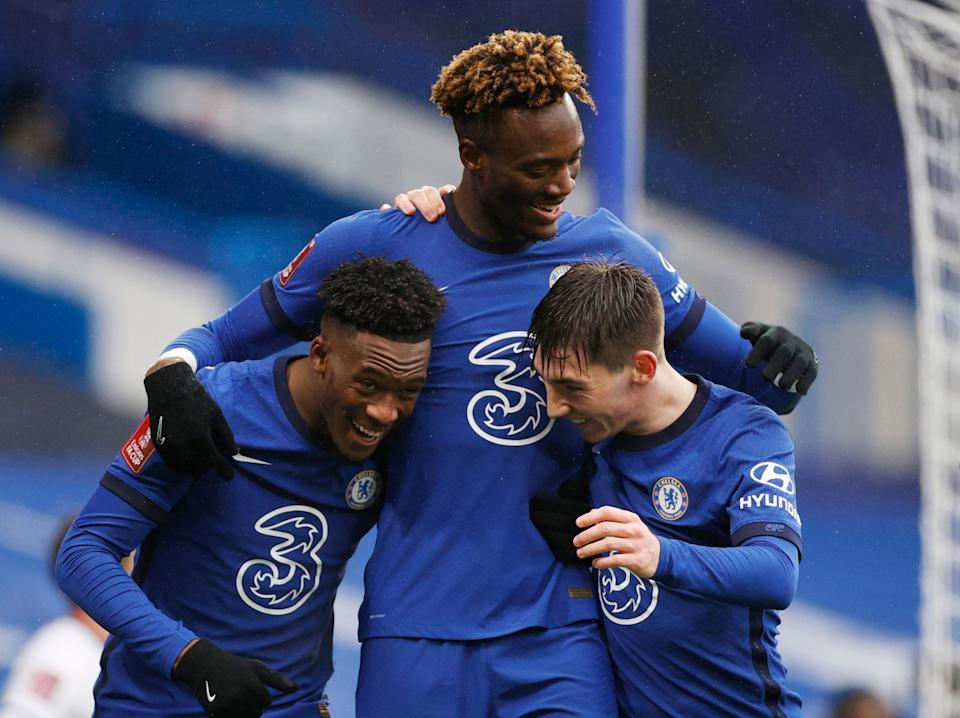 Tammy Abraham, centre, celebrates with his teammates (Reuters)