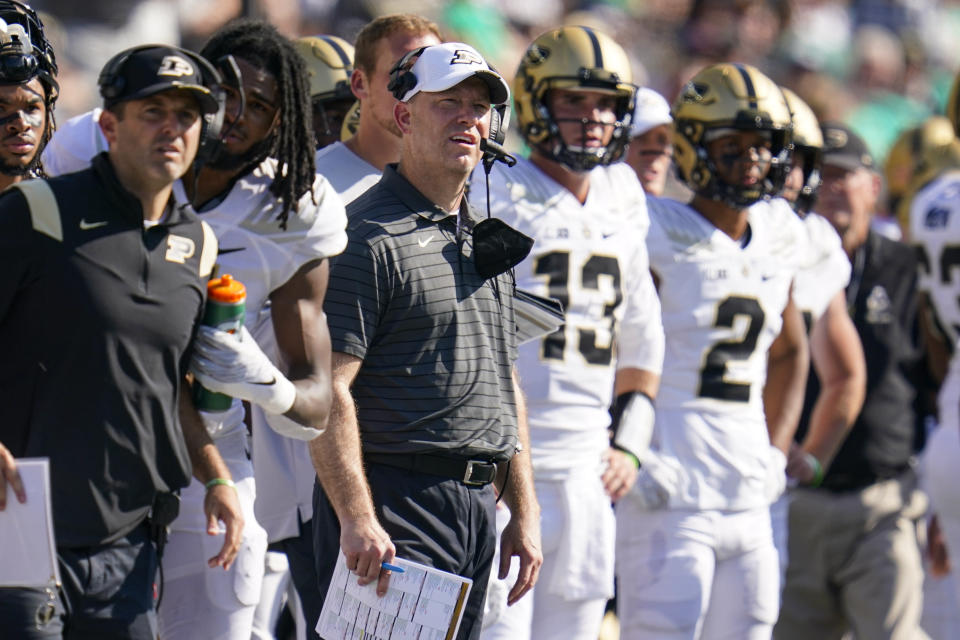 Purdue head coach Jeff Brohm watches a field goal from the sideline during the second half of an NCAA college football game against Notre Dame in South Bend, Ind., Saturday, Sept. 18, 2021. Notre Dame defeated Purdue 27-13. (AP Photo/Michael Conroy)