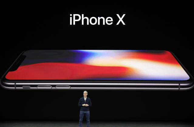 Apple CEO Tim Cook announces the new iPhone X at the Steve Jobs Theater on the new Apple campus in Cupertino, Calif. (AP Photo/Marcio Jose Sanchez, File)