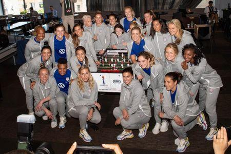 May 24, 2019; New York, NY, USA; The U.S. Women's National Team tale a photo with USWNT Foosball table during the U.S. Women's National Team World Cup media day at Twitter NYC. Mandatory Credit: Dennis Schneidler-USA TODAY Sports