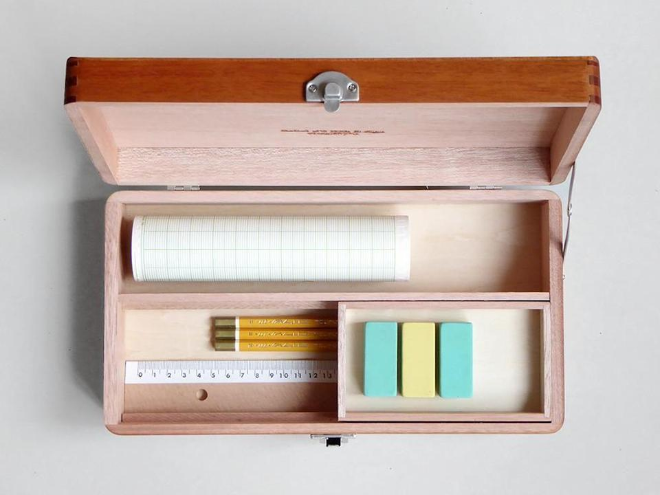 """<p>Get organised and store your everyday stationery essentials in this neat tool box. A tidy space creates a tidy mind after all. £82.50, <a href=""""https://www.presentandcorrect.com/collections/new-arrivals/products/desktop-tool-box"""" rel=""""nofollow noopener"""" target=""""_blank"""" data-ylk=""""slk:presentandcorrect.com"""" class=""""link rapid-noclick-resp"""">presentandcorrect.com</a></p>"""