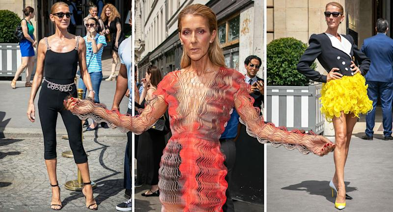 Celine Dion wears a variety of weird and wonderful outfits at Paris haute couture week. [Photo: Getty]