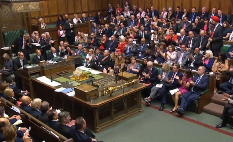 Labour MPs clapping the remarks of Labour MP for Slough Tanmanjeet Singh Dhesi