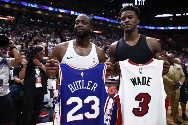 Jimmy Butler received the final Miami Heat jersey of Dwyane Wade's career. He'll get his own next year. (AP Photo/Brynn Anderson)