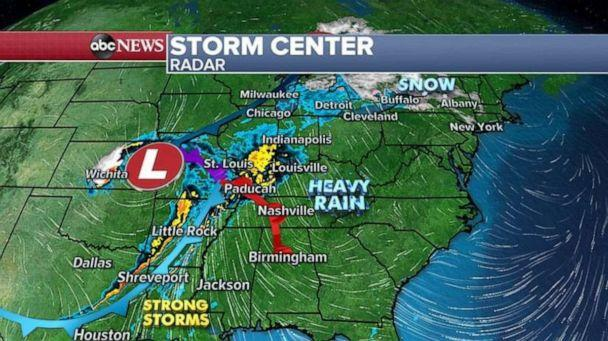 PHOTO: There is a risk for strong winds, heavy rain and isolated tornadoes today from Louisiana to southern Indiana.  (ABC News)