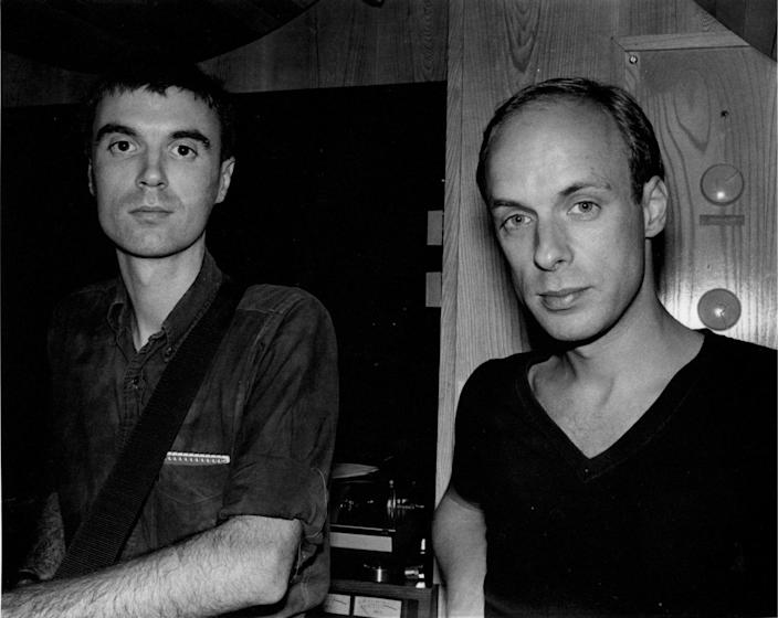 Talking Heads' David Byrne and Brian Eno in the recording studio, 1977.