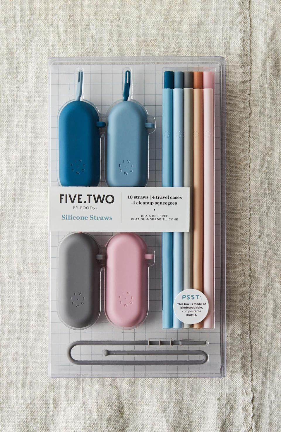 <p>Help them ditch plastic with this <span>Five Two by Food52 Pack of 10 Silicone Straws &amp; Travel Cases</span> ($25) set.</p>