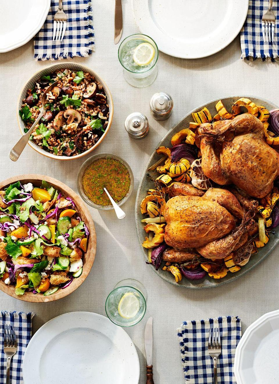 """<p>As each weekend comes to an end, gather your brood around the table for a relaxed, gear-up-for-Monday meal. While certainly company-worthy, this roast chicken won't ruffle your feathers. (It's your weekend too!)</p><p><strong><a href=""""https://www.countryliving.com/food-drinks/recipes/a37295/roasted-chicken-and-winter-squash/"""" rel=""""nofollow noopener"""" target=""""_blank"""" data-ylk=""""slk:Get the recipe"""" class=""""link rapid-noclick-resp"""">Get the recipe</a>.</strong></p>"""