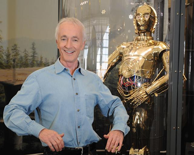 Anthony Daniels, who played C-3PO in the films, during rehearsals for Star Wars: A Musical Journey at the 02 Arena in London.