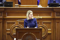 South Carolina Sen. Sandy Senn, R-Charleston, speaks about a bill that would ban almost all abortions in the state on Thursday, Jan. 28, 2021,in Columbia, South Carolina. Senn voted against the bill on an initial vote. (AP Photo/Jeffrey Collins)