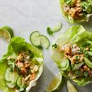 "<p>We love the crunch from sliced cucumber and jicama in these savory chicken lettuce wraps. Serve with the simple peanut sauce for an easy dinner recipe that will impress kids and adults alike. <a href=""http://www.eatingwell.com/recipe/273180/chicken-cucumber-lettuce-wraps-with-peanut-sauce/"" rel=""nofollow noopener"" target=""_blank"" data-ylk=""slk:View recipe"" class=""link rapid-noclick-resp""> View recipe </a></p>"