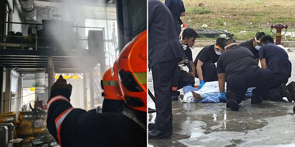 SCDF officers putting out the fire at the unit in the Platinum@Pioneer building (left) and assisting an injured worker (right). (PHOTOS: SCDF)