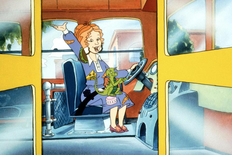 <p>For the knowledgeable and adventurous teacher from <b>The Magic School Bus</b>, you need a curly red wig, blue dress with purple collar (or a collared shirt underneath the dress), and a stuffed iguana to play Liz the iguana. For an extra touch, attach stars and planets to your dress! </p>