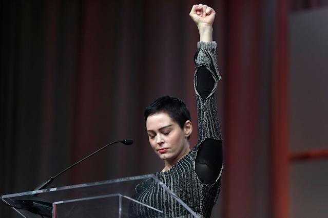 """<p>OCT. 27, 2017 – Actress Rose McGowan speaks at the inaugural Women's Convention in Detroit. In her first public comments since accusing film producer Harvey Weinstein of rape, actress Rose McGowan said she has been """"silenced for 20 years"""" but won't remain quiet about sexual assault and harassment. (Photo: Paul Sancya/AP) </p>"""
