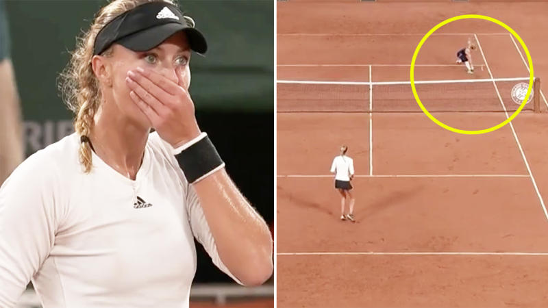 Kristina Mladenovic, pictured here looking shocked that the umpire missed the double bounce.