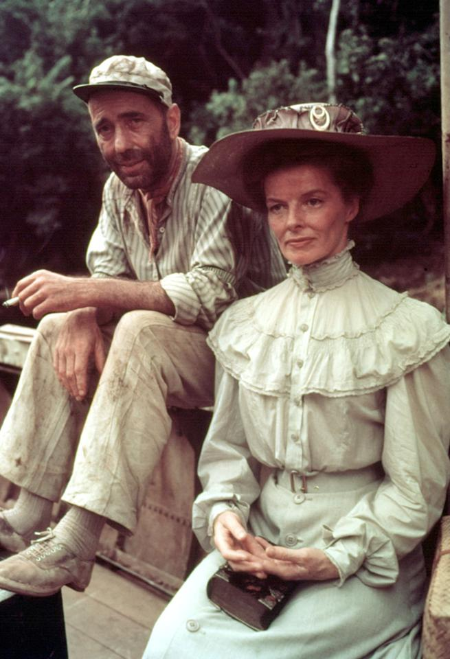 """<a href=""""http://movies.yahoo.com/movie/the-african-queen/"""">THE AFRICAN QUEEN</a> (1952) <br>Directed by: <span>John Huston</span> <br>Starring: <span>Katharine Hepburn</span>, <span>Humphrey Bogart</span> and <span>Robert Morley</span>"""