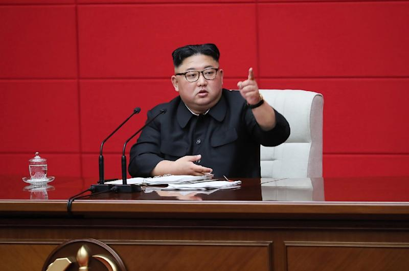 "North Korean leader Kim Jong Un says his country will not break under international sanctions and will ""deal a telling blow to the hostile forces who go with bloodshot eyes"" (AFP Photo/KCNA VIA KNS)"