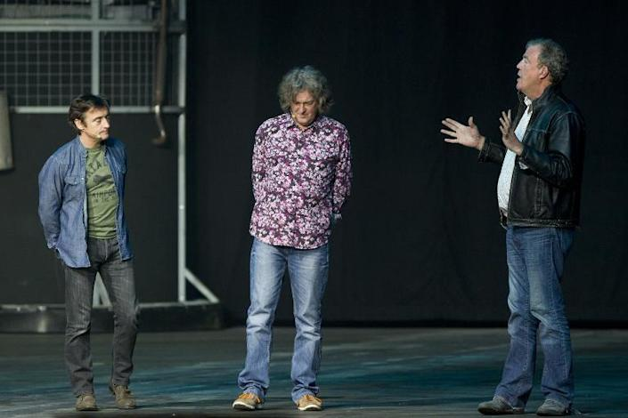 (From L): Richard Hammond, James May and Jeremy Clarkson of British television series Top Gear (AFP Photo/Kristof van Accom)