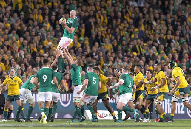 Rugby Union - June Internationals - Australia vs Ireland - Sydney Football Stadium, Sydney, Australia - June 23, 2018 - Devin Toner of Ireland jumps to catch the ball in a line-out. AAP/Craig Golding/via REUTERS ATTENTION EDITORS - THIS IMAGE WAS PROVIDED BY A THIRD PARTY. NO RESALES. NO ARCHIVE. AUSTRALIA OUT. NEW ZEALAND OUT.