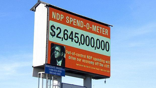 The B.C. Liberals' billboard claims the B.C. NDP promises add up to $3 billion, but is that really true?
