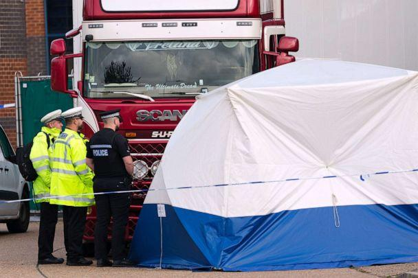 PHOTO: Police at the scene with the lorry at Waterglade Industrial Park in Grays, Essex, Britain, Oct. 23, 2019. (Vickie Flores/epa-efe/rex/Vickie Flores/EPA via Shutterstock)
