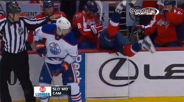 Mike Green flips into Capitals bench after missing check (Video)