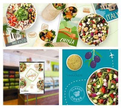 """Think-Traffic's creative """"Flavor Your World"""" campaign launch for Saladworks included major in-store branding and menu design. Concurrently, the agency started a social campaign across multiple platforms and redesigned the Saladworks website to introduce exciting, new and exotic salad meals. Saladworks, with more than 100 locations in 18 states and two countries, is taking advantage of diners' long repressed desire to travel again by offering flavors and cuisines of six of the world's most popular food destinations."""