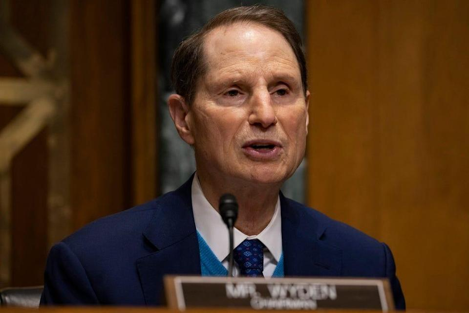 Senate Finance Committee Chairman Ron Wyden (D-OR) speaks at the Senate Finance Committee hearing at the US Capitol on February 25, 2021 in Washington, DC.
