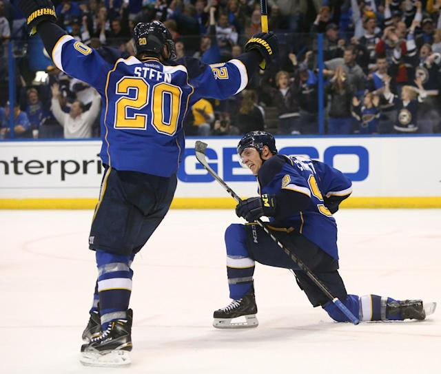 St. Louis Blues center Jaden Schwartz, right, reacts after scoring to pull the Blues into a tie with the Chicago Blackhawks during the closing minutes of the third period of Game 1 of an NHL hockey opening-round playoff series, Thursday, April 17, 2014, in St. Louis. At left is teammate Alexander Steen. (AP Photo/St. Louis Post-Dispatch, Chris Lee)