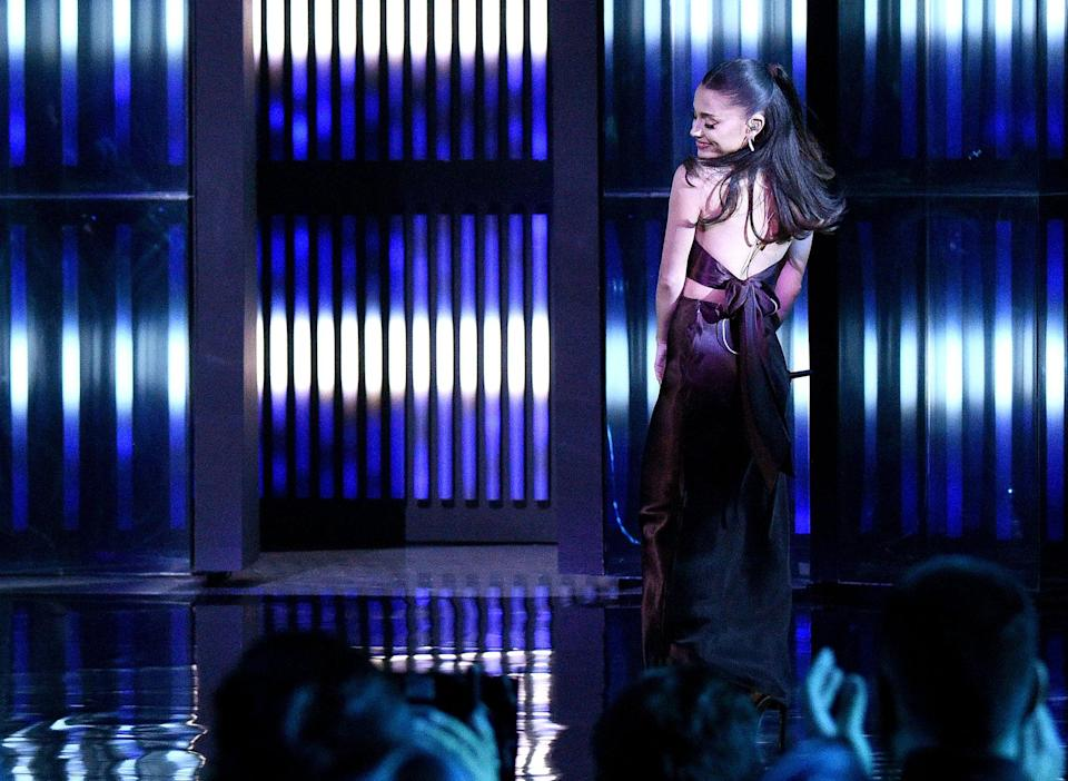 LOS ANGELES, CALIFORNIA - MAY 27: (EDITORIAL USE ONLY) In this image released on May 27, Ariana Grande performs onstage at the 2021 iHeartRadio Music Awards at The Dolby Theatre in Los Angeles, California, which was broadcast live on FOX on May 27, 2021. (Photo by Kevin Mazur/Getty Images for iHeartMedia)